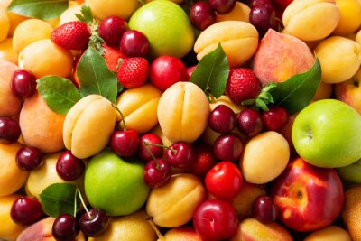 fresh ripe fruits and berries as background
