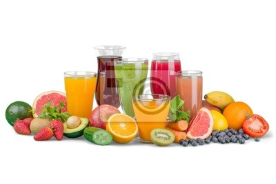 Fruit. Glasses of fruit and vegetable juice with fruits on a