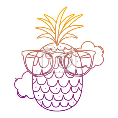 rétro beauté 2019 authentique Papiers peints: Fruits de lananas kawaii ligne dégradée avec des lunettes de