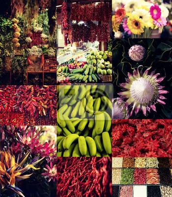 Papiers peints Fruits et légumes au marché