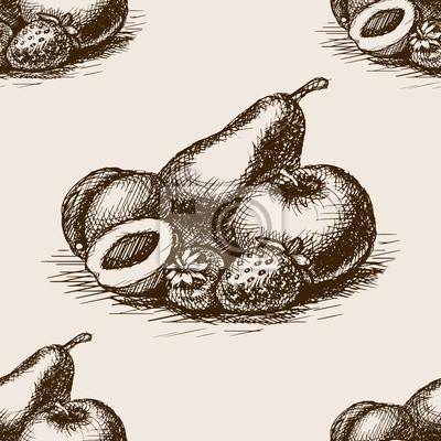 Fruits, main, dessiné, croquis, seamless, modèle, vecteur