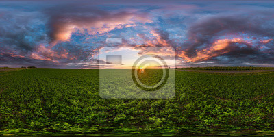 Papiers peints full seamless spherical hdri panorama 360 degrees angle view among fields in summer evening sunset with awesome blue pink red clouds in equirectangular projection, ready for VR AR virtual reality