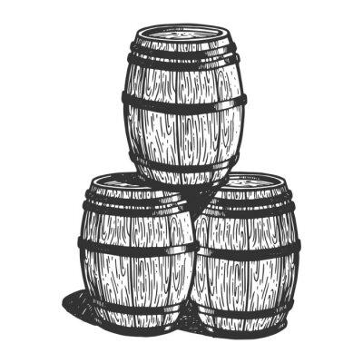 Fûts de bière de vin gravure illustration vectorielle