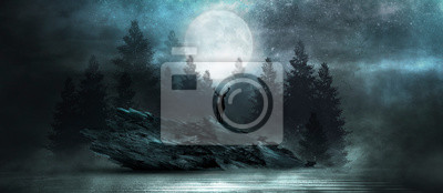 Papiers peints Futuristic night landscape with abstract forest landscape. Dark natural forest scene with reflection of moonlight in the water, neon blue light. Dark neon circle background, dark forest, deer.