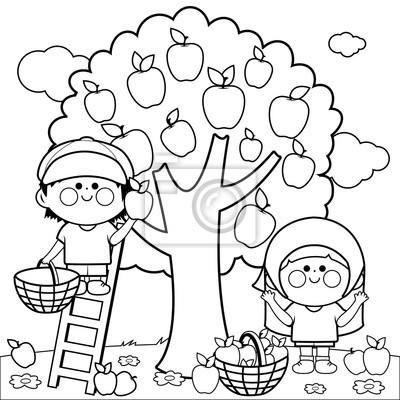 Coloriage Fille Garcon.Papiers Peints Garcon Fille Cueillette Pommes Sous Pommier Livre De Coloriage