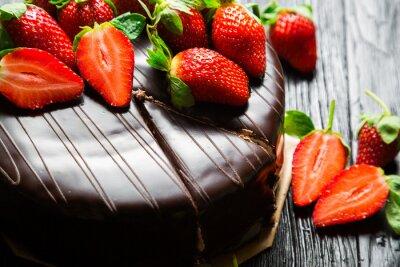 Papiers peints Gâteau au chocolat aux fraises fraîches