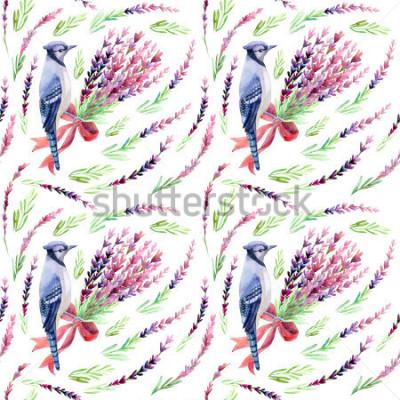Papiers peints Geai bleu avec motif sans soudure de lavande sur fond blanc. Illustration aquarelle peinte à la main.