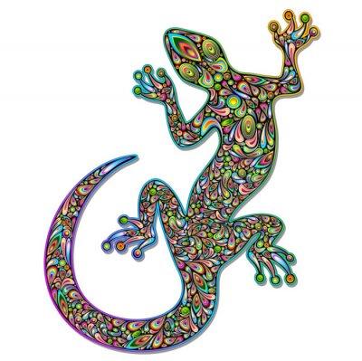 Papiers peints Gecko Geko Lizard Psychedelic Design Art-Geco psichedelico