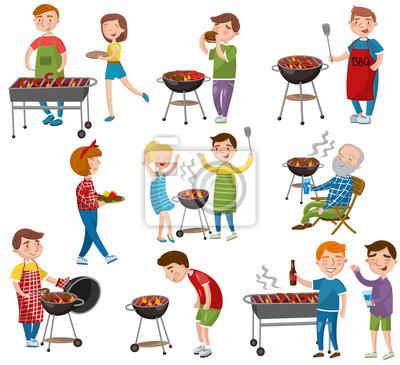 Dessin Barbecue gens heureux, manger et faire cuire la viande grillée, barbecue