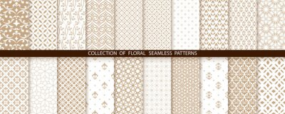 Papiers peints Geometric floral set of seamless patterns. Gold and white vector backgrounds. Simple illustrations