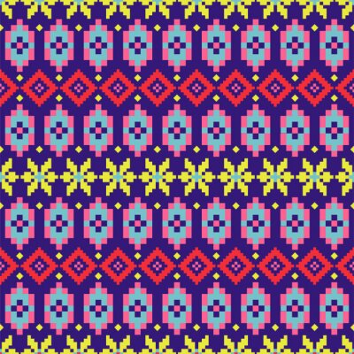 Geometric folk seamless pattern colorful pixelated shapes texture.