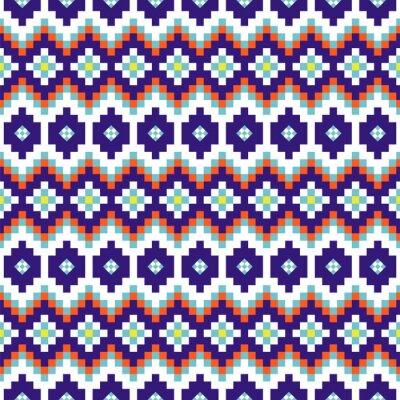 Geometric rhobmus seamless blue and white chevron pattern sweater blocks shapes texture.