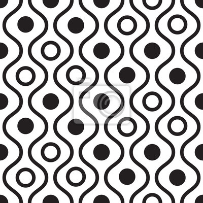 Géométrique, noir, blanc, minimalistic, ondulé, vecteur, modèle. Lignes et cercles de fond.