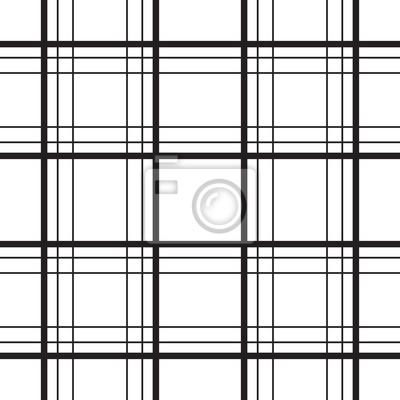 Géométrique, plaid, ligne, noir, blanc, minimalistic, vecteur, modèle. Fond à carreaux.