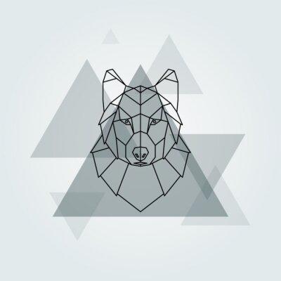 Papiers peints Géométrique vecteur animal fond de tête de loup gris.