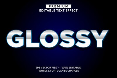 Papiers peints Glossy Silver White Premium Editable Text Effect Font style