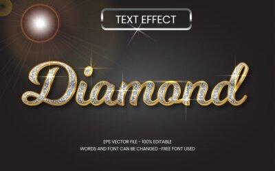 Papiers peints Gold metal text effect editable vector, silver glitter 3d diamond style.