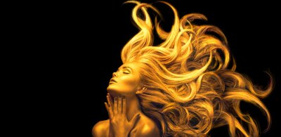 Papiers peints Gold Woman. Beauty fashion model girl with Golden make up, Long hair on black background. Gold glowing skin and fluttering hair. Metallic, glance Fashion art portrait, Hairstyle. Fashion art design