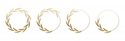 Papiers peints Golden laurel wreath round frame set. Rings with gold leaves, circle award logo or emblem vector illustration. Roman circular badge for anniversary, wedding, award isolated on white background