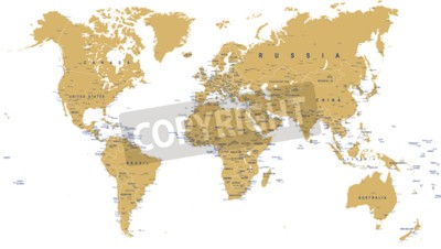 Papiers peints Golden World Map - frontières, pays, villes et globes - illustration