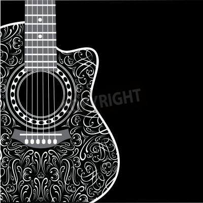 Papiers peints Gradient, fond, coupé, guitare, élégant, ornement