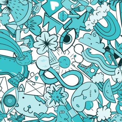 Papiers peints Graffiti avec des icônes de ligne de style de vie urbain. Crazy doodle abstract vector background. Collage de style linéaire à la mode avec des éléments bizarres de l'art de la rue.