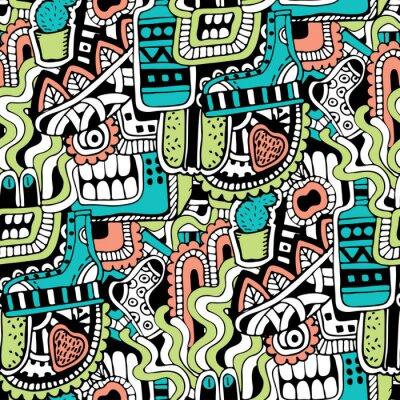 Papiers peints Graffiti texture transparente avec des signes des médias sociaux et d'autres icônes brillantes. Vecteur, Illustration, chaussure, tv, bouteille, nourriture, monstres, tête, feuilles