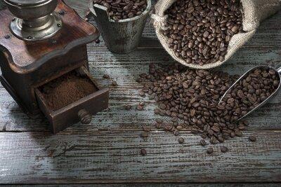 Papiers peints Grains de café et broyeur à partir de ci-dessus