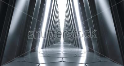 Papiers peints Grand corridor Sci-FI réaliste futuriste avec lumières blanches et reflets. Rendu 3D