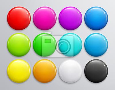 Papiers peints Grand ensemble d'insigne brillant coloré ou un bouton. Rendu 3d. Broche en plastique ronde, emblème, étiquette de volontaire. Vecteur.