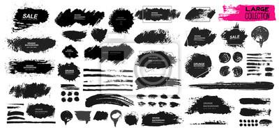 Papiers peints Grand ensemble de peinture noire, brosse à l'encre, brosse. Conception d'élément sale, boîte, cadre ou arrière-plan pour le texte. Ligne ou texture. Illustration vectorielle. Isolé sur fond blanc. For