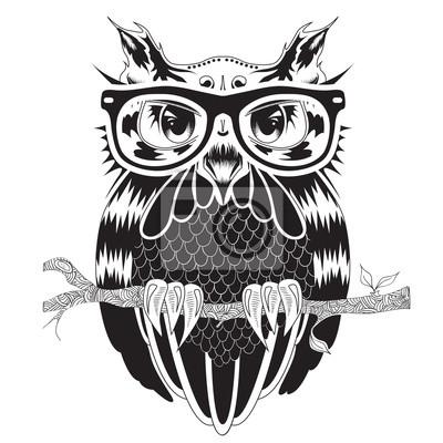 graphique, dessin, chouette, hipster, lunettes, tatouage, conception