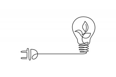 Papiers peints Green energy icon in continuous line art drawing style. Plant inside light bulb with power plug as a symbol of environmental friendly sources of energy black linear design isolated on white background