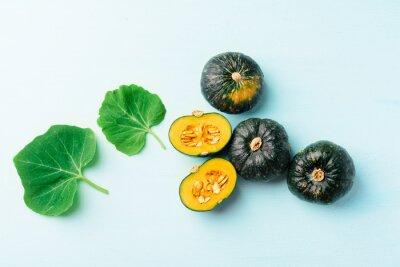 Green Japanese pumpkins on green pastel background, Organic vegetables