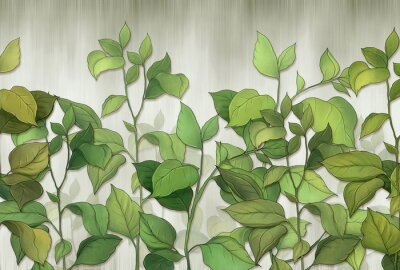 Papiers peints Green leaves of a house plant on a wall background. Tropical leaves. for interior printing.