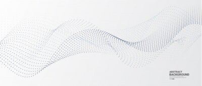Papiers peints Grey white abstract background with flowing particles. Digital future technology concept. vector illustration.