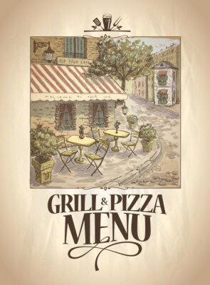 Papiers peints Grill and Pizza menu with graphic illustration of a street cafe.