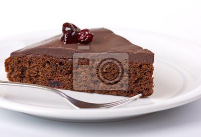 Gros plan d'une tarte au chocolat sur plaque blanche
