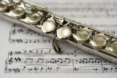 Papiers peints Gros plan sur la flûte flûte feuille musique de fond