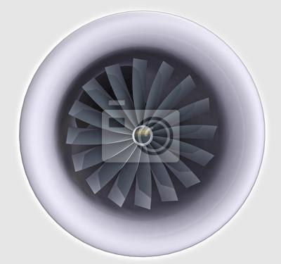 gros plan sur le moteur de jet avec turbine