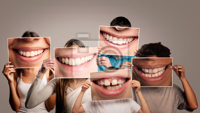 Papiers peints group of happy people holding a picture of a mouth smiling on a gray background