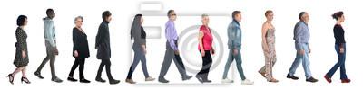 Papiers peints groupe de personnes marchant sur blanc