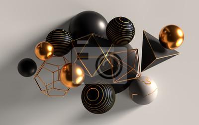 Papiers peints Groupe de sphères abstraites et solides, or, blanc et noir, rendu 3d