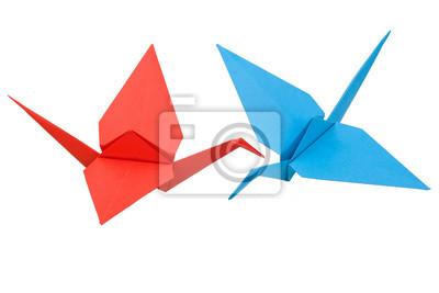 Grue Dorigami Rouge Et Bleu Papier Peint Papiers Peints Origami