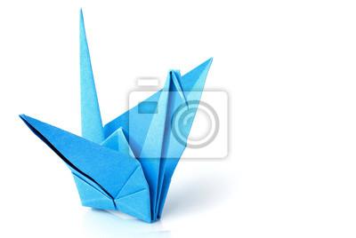 Grue Origami Bleue Oiseau Isole Agrandi Papier Peint Papiers