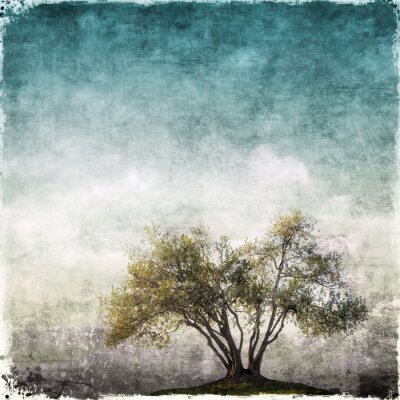 Papiers peints Grunge, paysage, unique, arbre