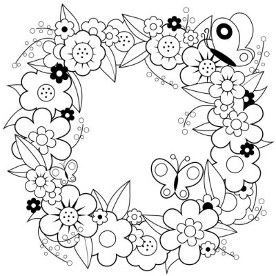Coloriage Guirlande Fleurs.Papiers Peints Guirlande De Fleurs Noir Et Blanc Page De Livre A Colorier