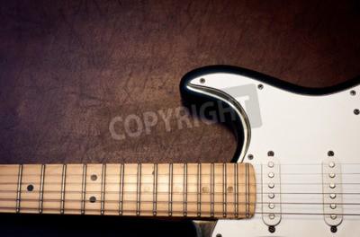 Papiers peints Guitare électrique corps et cou détail sur fond de bois vintage look