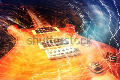 Papiers peints Guitare électrique entourée des éclairs