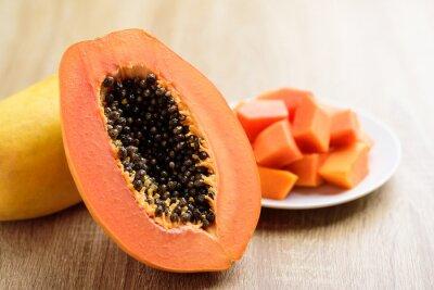 Half and sliced papaya fruit ready to eating, Tropical fruit